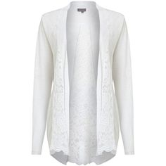 Phase Eight Lace Linen Cardigan, White ($64) ❤ liked on Polyvore featuring tops, cardigans, short-sleeve cardigan, open front cardigan, lace sleeve top, layering cardigans and linen cardigan