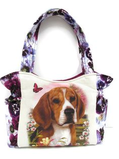 Beagle Dog Purse Quilted Handbag Pansy Bag by JustBeautiful161