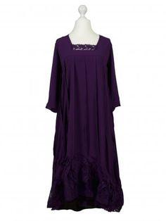 Damen Kleid mit Seide 2-tlg., aubergine