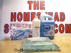gredients: 1/4 cup Dawn dish soap 1 cup Rubbing alcohol 2 cups water Quart Ziplock bags or use your Foodsaver machine Remember there are 4 cups in a quart so there will be room to close the ziplock bag easily. Add water and rubbing alcohol first. Then add the dish soap.