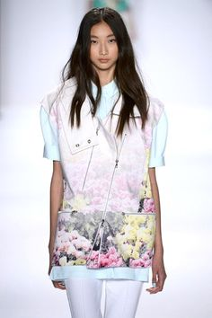 love this arty-abstract floral Rebecca Minkoff vest  and that hair is to die for as well, sigh. grow, hair, grow!