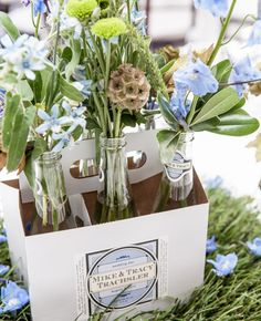 Six-Pack Centerpiece Vessel | Laura Lillie Photographie | Blog.theknot.com