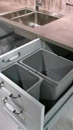 Kitchen Sink Diy, Kitchen Wall Storage, Modern Kitchen Sinks, Kitchen Pantry Design, Modern Kitchen Design, Interior Design Kitchen, Kitchen Bins, Kitchen Remodel, Kitchen Decor