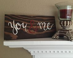 You&Me hand painted wood sign wedding gift by PeaceLoveAndWood