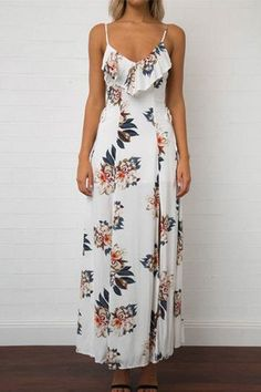 White Ruffle Trim M-Split Floral Print Maxi Dress Prom Outfits, Boho Outfits, Dress Outfits, Fashion Dresses, Dress Up, Semi Casual Outfit Women, Meeting Outfit, Floral Print Maxi Dress, 1960s Fashion
