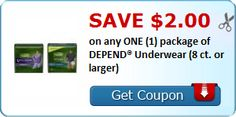 New Coupon!  Save $2.00 on any ONE (1) package of DEPEND® Underwear (8 ct. or larger) - http://www.stacyssavings.com/new-coupon-save-2-00-on-any-one-1-package-of-depend-underwear-8-ct-or-larger-5/