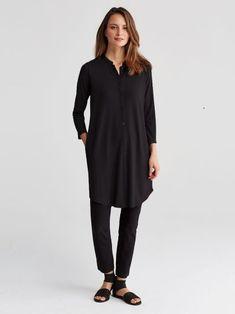 Mandarin Collar 3/4-Sleeve Shirtdress in Viscose Jersey | EILEEN FISHER