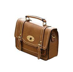 KISS GOLD Aktentasche Collegetasche Umhängetasche Vintage Retro Style (braun Größe M)