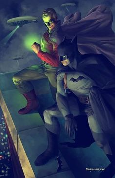 Golden Age Green Lantern & Batman Art By Raymund Lee : DCcomics Dc Heroes, Comic Book Heroes, Comic Books Art, Comic Art, Marvel Vs, Batman Kunst, Batman Poster, Batman Artwork, Univers Dc