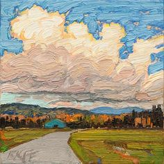 """Daily Paintworks - """"Country Road: 6x6 oil on panel"""" - Original Fine Art for Sale - © Ken Faulks  Price: $100.00 (recent bid) Media: oil on cradled panel Size: 6x6 in"""