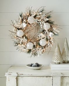 "White Christmas 28"" Wreath at Neiman Marcus."