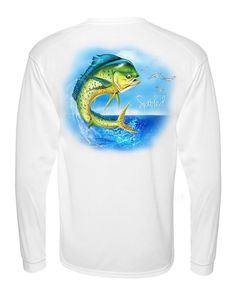 CLEARANCE PERFORMANCE LONG SLEEVE WHITE WITH SPOOLED DOLPHIN SPF-30 Available at SpooledFishingApparel.com  #spooled #fishing #mahi #mahimahi #apparel