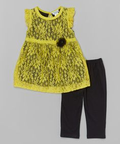 Loving this Yellow Floral Lace Top & Leggings - Toddler & Girls on #zulily! #zulilyfinds