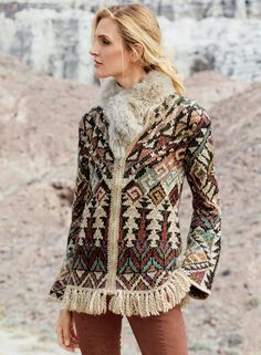 Inspired by Southwestern geometrics, the art knit cardigan is cast in dusty shades of lilac, rose, chambray, olive, black and cream. Handknit of soft, tweeded alpaca, pima, polyamide and wool, it has a zip placket, belled cuffs and a fringed hem. #peruvianconnection #fallfashion #fallwinterfashion #sustainablefashion #ethicalfashion #southwesternstyle #southweststyle #fringe #cardigan #fringecardigan Fringe Cardigan, Knit Cardigan, Cardigan Sweaters, Cardigans, Peruvian Connection, Lilac Roses, Moda Boho, Hippie Chic, Hippie Style