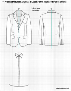 Mens Illustrator Flat Fashion Sketch Templates - Presentation Sketches Suit Jackets - 1045+ mix & match Menswear design templates only $39.95! #menswear #mensfashion #flatsketches #fashionflats #fashionsketches #fashiontemplates #fashionCADs #fashionpresentation