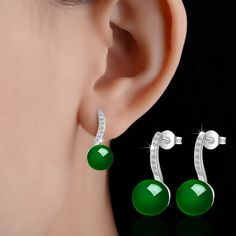 PATICO Latest 925 Sterling Silver with Green Agate Earrings Shiny AAA Zircon Crystal Paved Jewelry For Wedding Party Top Quality
