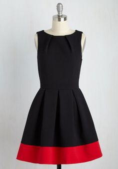 Luck Be a Lady A-Line Dress in Black and Red   Mod Retro Vintage Dresses   ModCloth.com