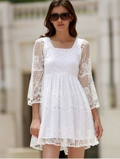 White Lace Mesh Splicing Square Neck Flare Sleeve Dress - WHITE L