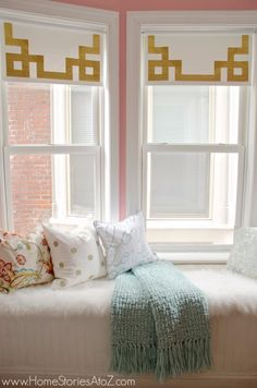 50 DIY Curtains and Drapery Ideas - Greek Key Shades With Duct Tape - Easy No Sew Ideas and Step by Step Tutorials for Drapes and Curtain Ideas - Cheap and Creative Projects for Bedroom, Living Room, Kitchen, Kids and Teen Rooms - Simple Draperies for Fabric, Made Out of Sheets, Blackout Curtains and Valances http://diyjoy.com/diy-curtains-drapes
