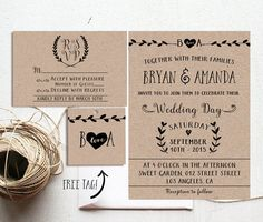 Rustic Wedding Invitation Printable Kraft Paper by ohlillydesigns