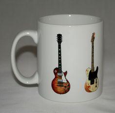 Blues-Rock Guitar Mug 5 guitar illustrations. in Collectables, Kitchenalia, Mugs