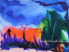 Blue Sky Abstract Watercolor Print -Set of 8 Notecards - 5x7 -  from original watercolor painting. $29.00, via Etsy.