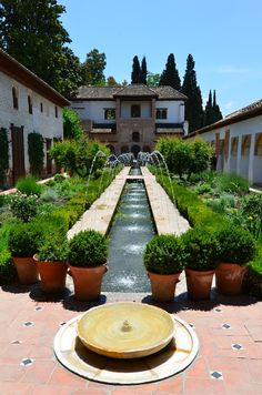 UNESCO World Heritage Site - Patio de la Sultana, Alhambra, Grenada, Spain…