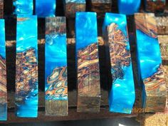 Australian Palm Root PEN blanks - Resifill - Stabilized blue -sold – George's Bits of Timber Pen Turning, Wood Turning, Resin Crafts, Wood Crafts, Diy Resin Lamp, Pen Making Supplies, Jesus Drawings, Cork Wood, Wood Sealer