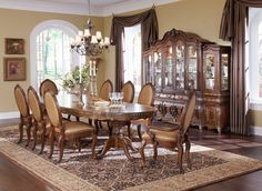 Dining Room Brown Leather Dining Chair Ouval Woodem Dining Chair Candle Holder Crystal Glass Chandelier Flower Pot Green Plant Painting Door Window Dark Brown Curtain Carpet Ceramic Vase Must-Have Dining Room Equipment