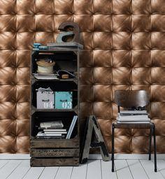 Wallpaper 3D Papier peint 3D Capiton cuir cuivre