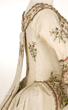 Robe a la Piemontaise: ca 1770-1790 heavily embroidered silk taffeta.