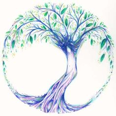 drawings of trees   Tree of Life original drawing in green ~ commissioned artwork   Liza ...
