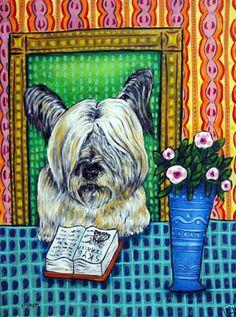 skye terrier art PRINT dog Poster modern folk JSCHMETZ 8x10 Library art #Impressionism
