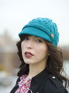 """Free knitting pattern for Cabled Chapeau brimmed hat with cables  Hat circumference is 22"""". One size fits most women. Use the top of a whipped cream container for the brim."""