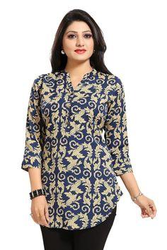 Ethnic Galore Blue Short Tunic Top for Women Short Kurti Designs, Kurta Designs Women, Tunic Designs, Dress Neck Designs, Collar Kurti, Looks Pinterest, Fancy Tops, Ethnic Wear Designer, Dress Indian Style