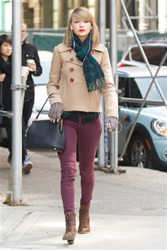 But marsala isn't just for dresses: Taylor Swift rocked a pair of jeans in the hot cranberry-brown color while running errands in New York's Tribeca district on March 27, 2014.