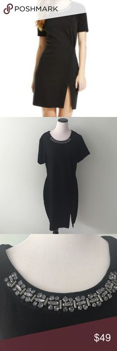 """NWT Jessica Simpson Ciara black jeweled Dress New with tags. """"Ciara"""" formal dress with jeweled neckline. Back zipper and front slit. Jessica Simpson Dresses"""