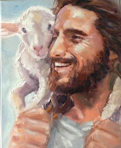 Our good Shepherd leaves the 99 to return the 1 lost sheep. All of heaven rejoices when someone accepts Jesus as their savior! Pictures Of Christ, Jesus Christ Images, Lord Is My Shepherd, The Good Shepherd, Image Jesus, Jesus Painting, Paintings Of Christ, Prophetic Art, Scripture Art