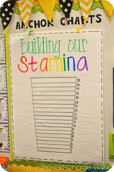 Love this anchor chart that encourages the class to build their reading stamina. and like idea to have area devoted to anchor charts--maybe could hang older ones behind to refer back to. Ela Anchor Charts, Reading Anchor Charts, Stamina Anchor Chart, Reading Stamina Chart, Anchor Charts First Grade, Kindergarten Reading, Teaching Reading, Guided Reading, Guided Math
