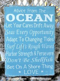 Advice From The Ocean Love Wood Sign Beach Wedding Decor Nautical House Theme Room Sign