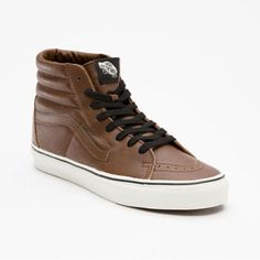 VANS Aged Leather to match your slacks and your gun! Casual Sneakers, High Top Sneakers, Vans Shoes, Shoes Sneakers, Fashion Shoes, Mens Fashion, Vans Sk8, Shoe Game, My Style