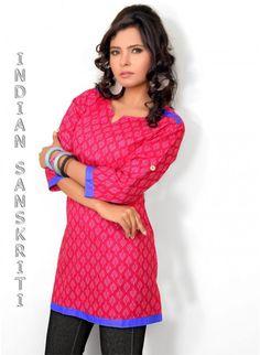 Gorgeous Pink Printed Cotton #Kurti