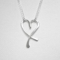 Sterling Silver Heart Necklace Chic by BelleAtelierJewelry on Etsy