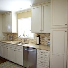 adding a pantry cabinet at the end of a counter   This little galley kitchen was very dated, you know, stuck in 1967. By ...