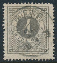 Sweden Facit 18 (Scott 18), 4ö grey Ringtyp perf 14, F+ Used, CV $135.00