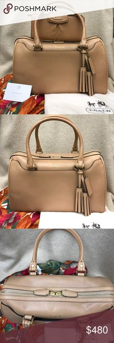 Coach Legacy Haley Satchel & Ashley Wallet Camel Both my own purchased from Coach. Comes with satin dust bag. Handbags used once. There's a minor scratch on top and a dot next to the zipper pull both shown in photos. The wallet has never been used. The gorgeous color is closest to the first photo. Gold tone hardware on both. Being sold as a pair. Both in magnificent condition. Coach Bags Satchels