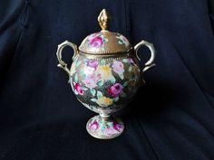 Nippon Royal Kinran Sugar Bowl Heavy Gold Moriage Beading