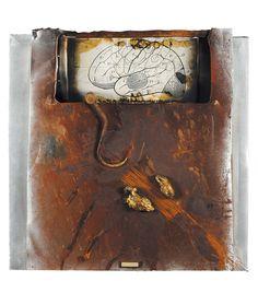 SENZA TITOLO, SENZA CERVELLO, 1990 Lotto 227 Claudio Costa (1942-1995)  lamiera su tela, cm 80x80,