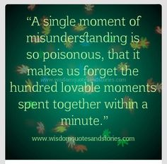 It would be sad to allow one misunderstanding to extinguish hundreds of amazing moments.