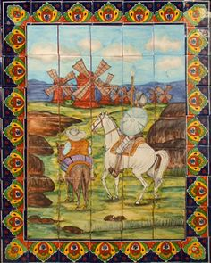 """Tile Mural """"Don Quijote de la Mancha"""" Artisan made tile mural for a kitchen backsplash, wall and table top. Use it as a focal point with European flavor. It is made of Sixty three ceramic tiles from Mexico.  #mycustommade"""